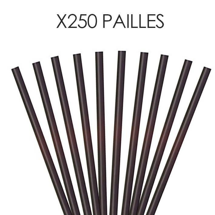 Paille Biodégradable PLA noire 21cm /ø7mm (250pcs)