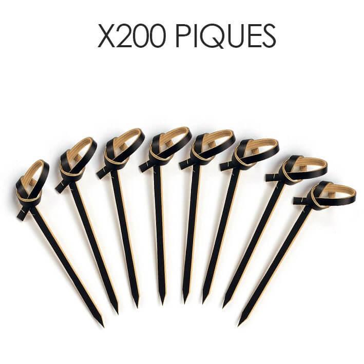 Pic Bambou noir forme noeud 6cm (200pcs)