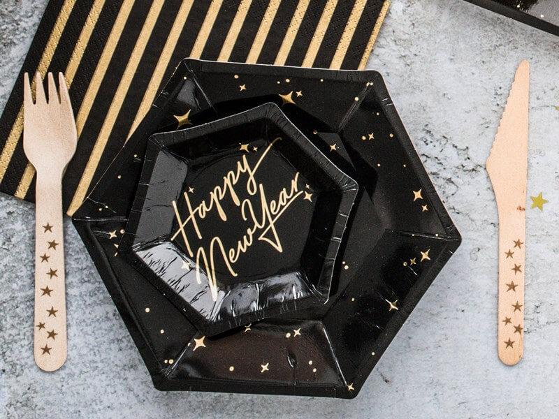 Assiette en papier noire avec motif or (Lot de 6)