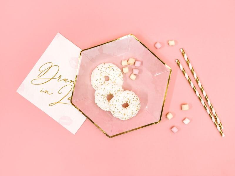 Assiette en papier rose avec bord doré (Lot de 6)