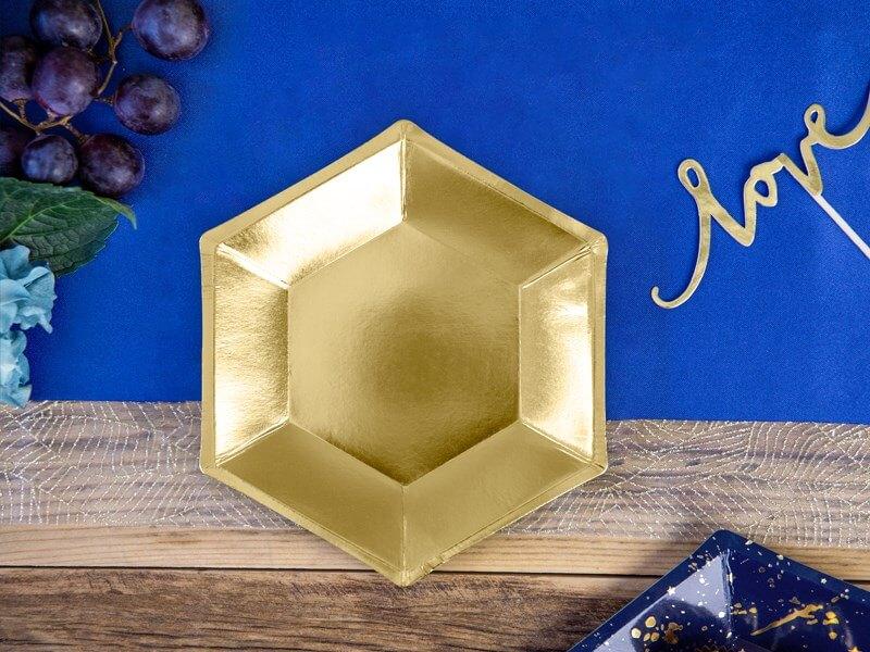 Assiette en papier miroir doré (Lot de 6)