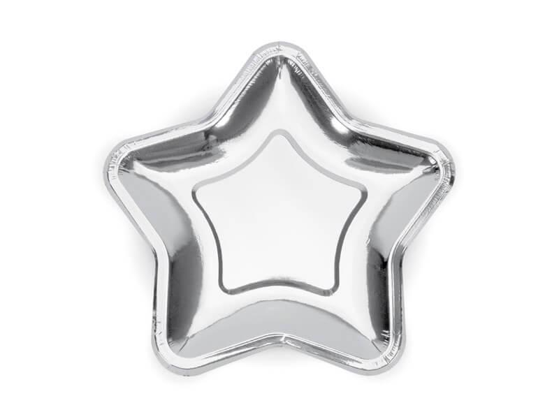 Assiette en papier étoile argenté (Lot de 6)