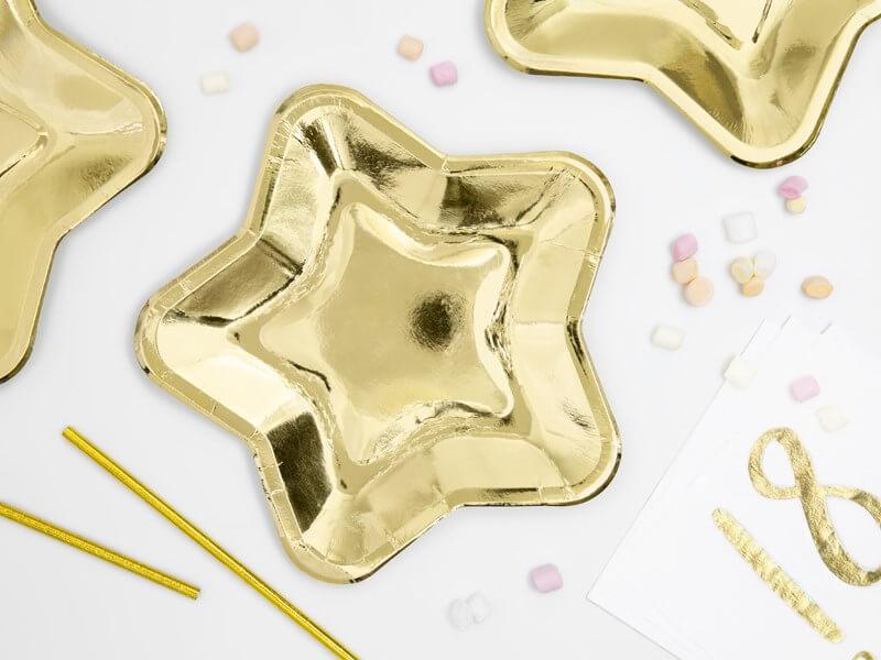 Assiette en papier étoile doré (Lot de 6)