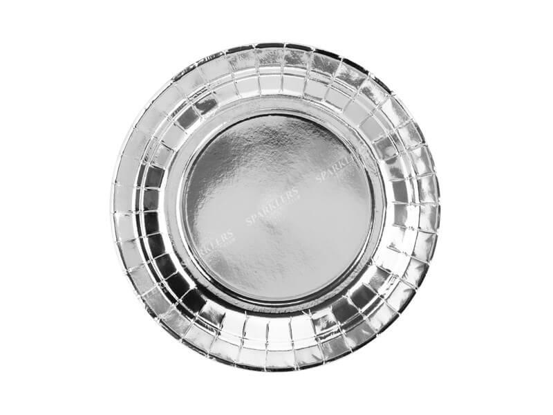 Assiette en papier ronde argent ø18cm (Lot de 6)