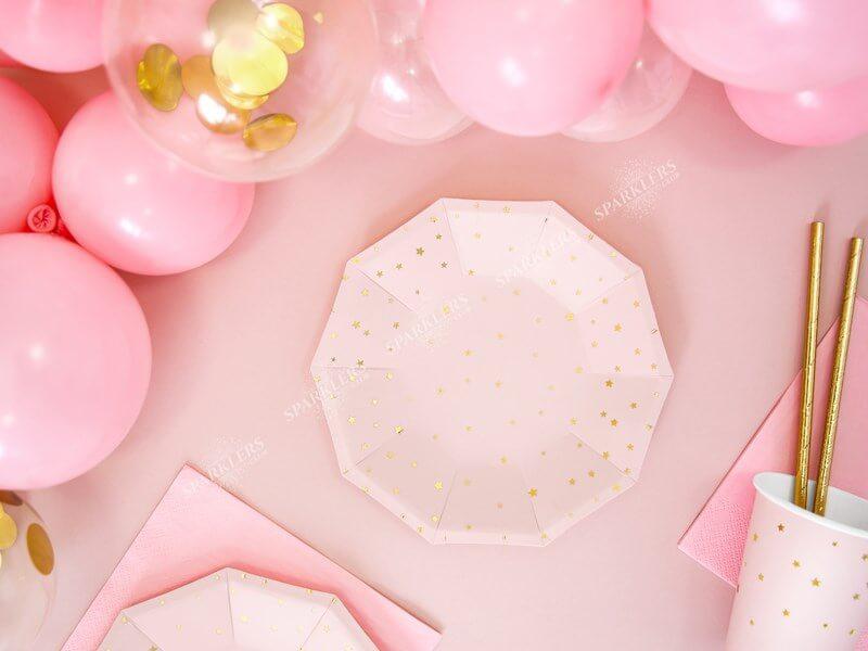 Assiette en papier rose avec étoile doré (Lot de 6)