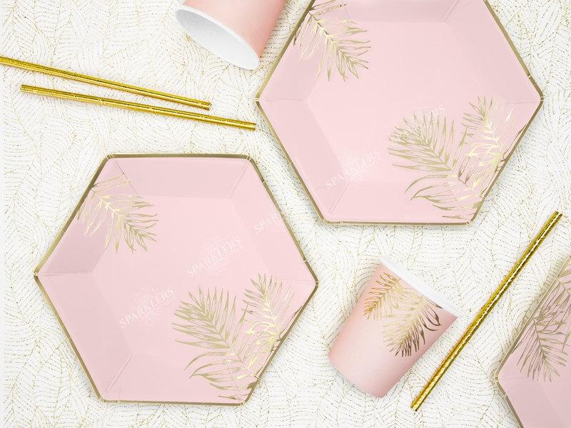 Assiette en papier rose avec motif feuille d'or (Lot de 6)
