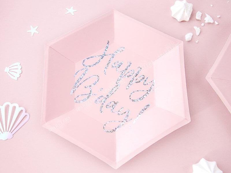 Assiette en papier rose Happy Birthday irisé (Lot de 6)