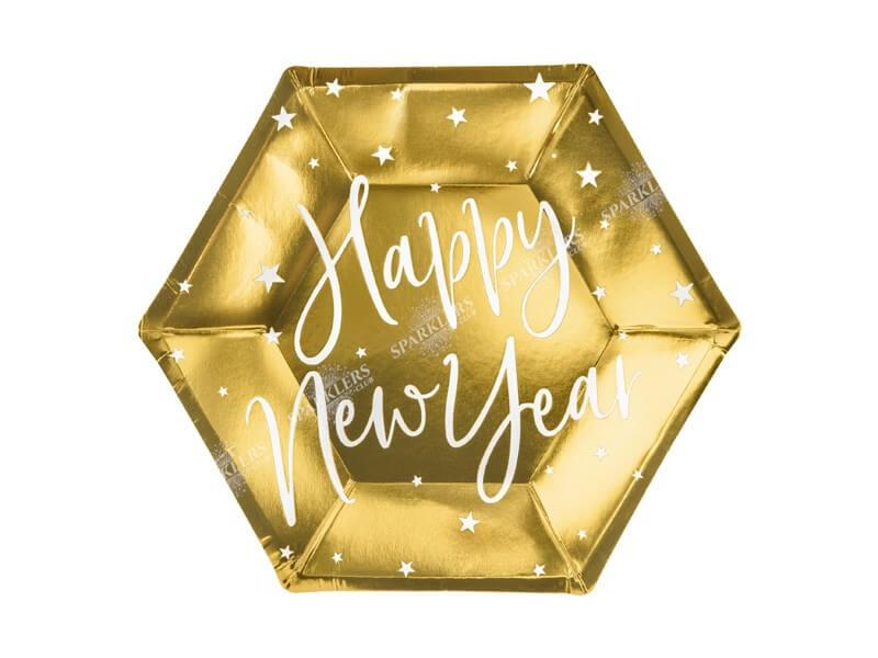 Assiette en papier or Happy New Year (Lot de 6)