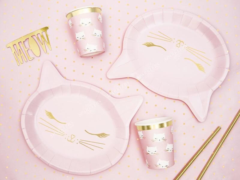 Assiette en papier rose forme Tête de chat (Lot de 6)