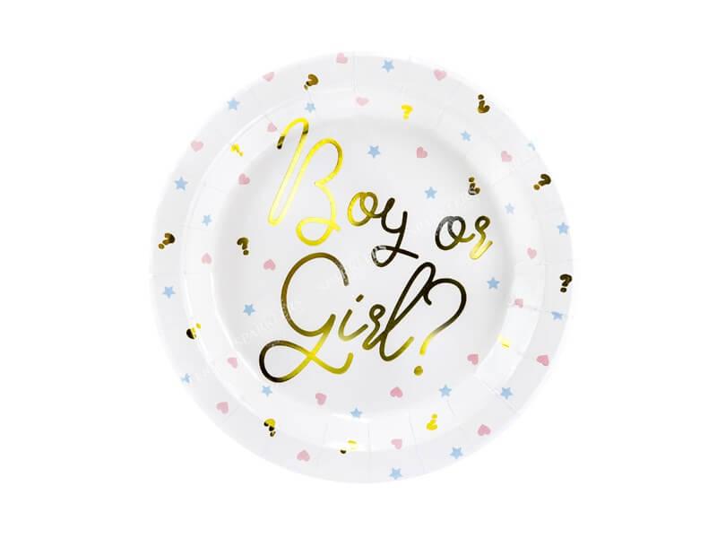 Assiette en papier Boy or Girl(Lot de 6)