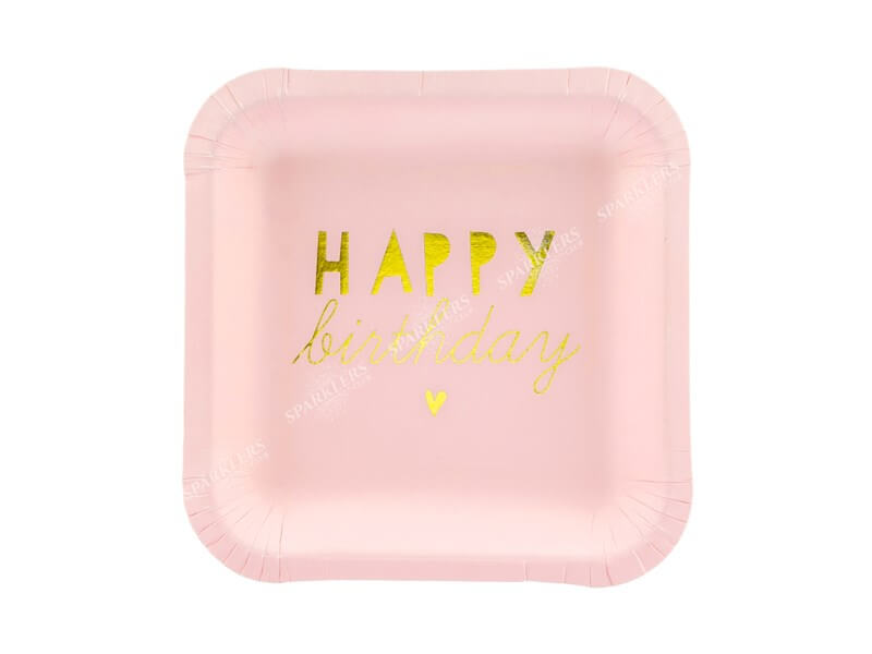 Assiette en papier carré rose Happy Birthday (Lot de 6)