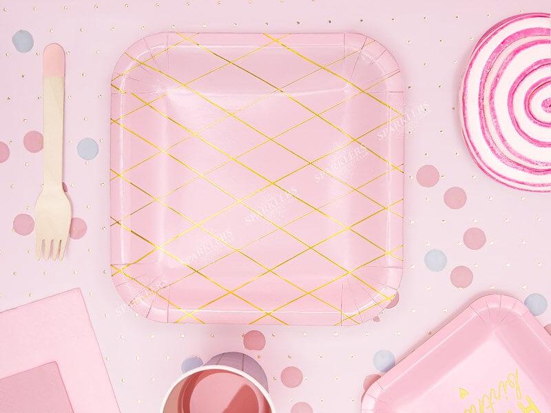 Assiette en papier carré rose motif or 20x20cm (Lot de 6)