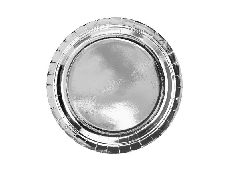Assiette en papier ronde argent ø23cm (Lot de 6)
