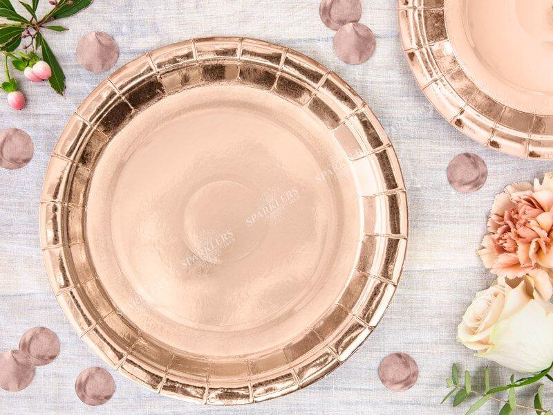 Assiette en papier ronde or rose ø23cm (Lot de 6)