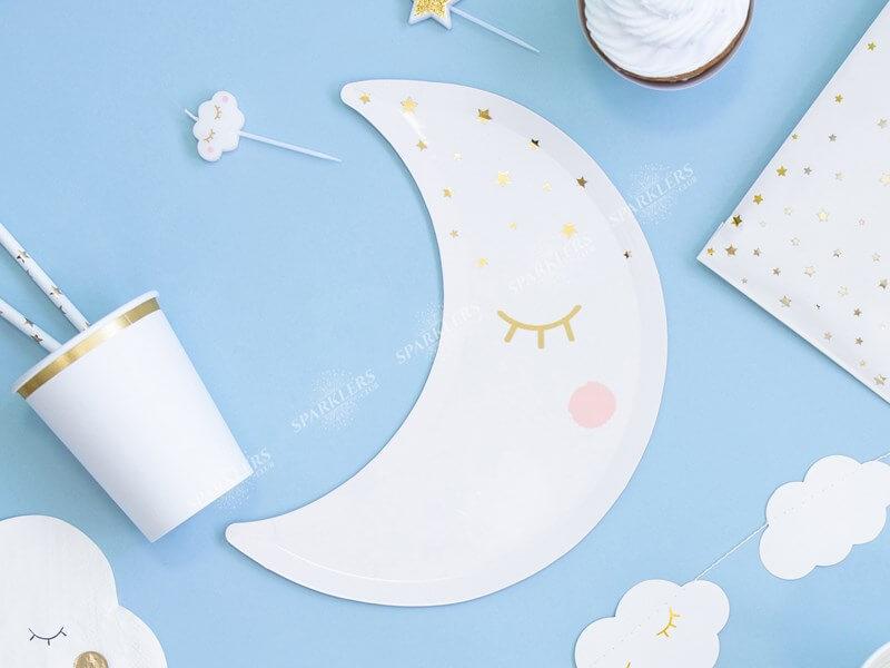 Assiette en papier en forme de Lune (Lot de 6)