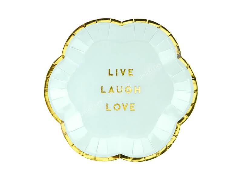 """Assiette en papier 'Live Laugh Love"""" (Lot de 6)"""
