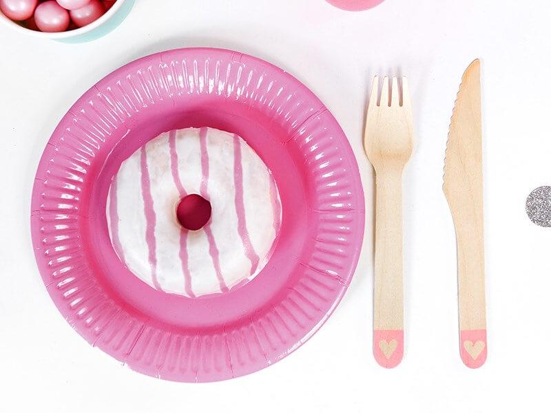Assiette en papier ronde rose foncé ø18cm (Lot de 6)