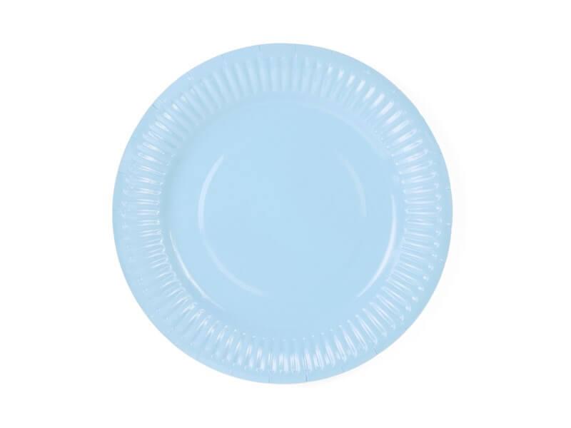 Assiette en papier ronde bleu clair ø18cm (Lot de 6)