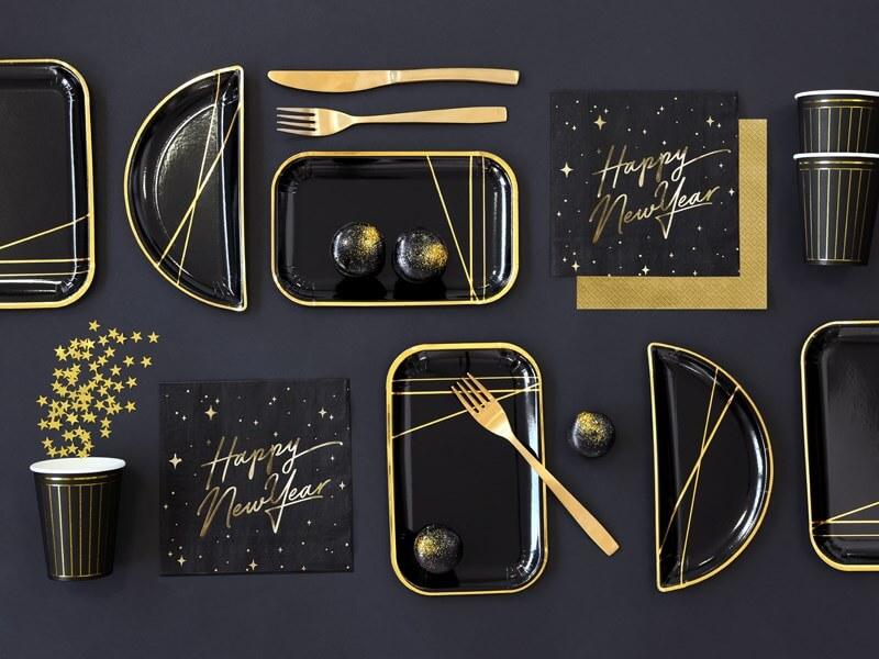 Assiette en papier noire Demi-Lune motif or  (Lot de 6)