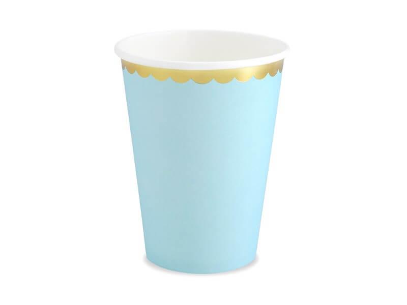 Gobelet en papier bleu clair bord or (Lot de 6)