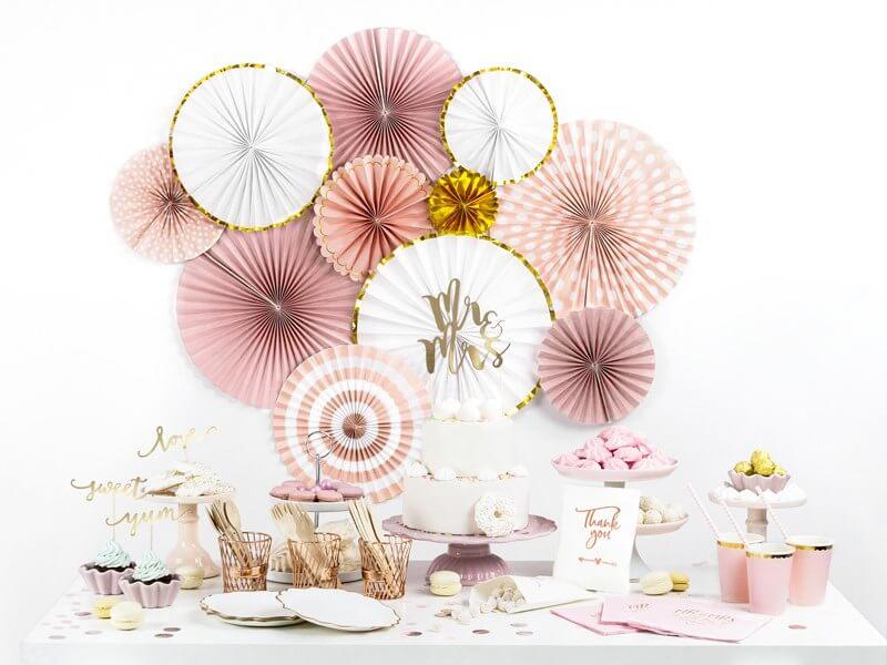 Gobelet en papier rose avec bord or (Lot de 6)