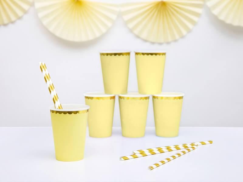 Gobelet en papier jaune bord or (Lot de 6)
