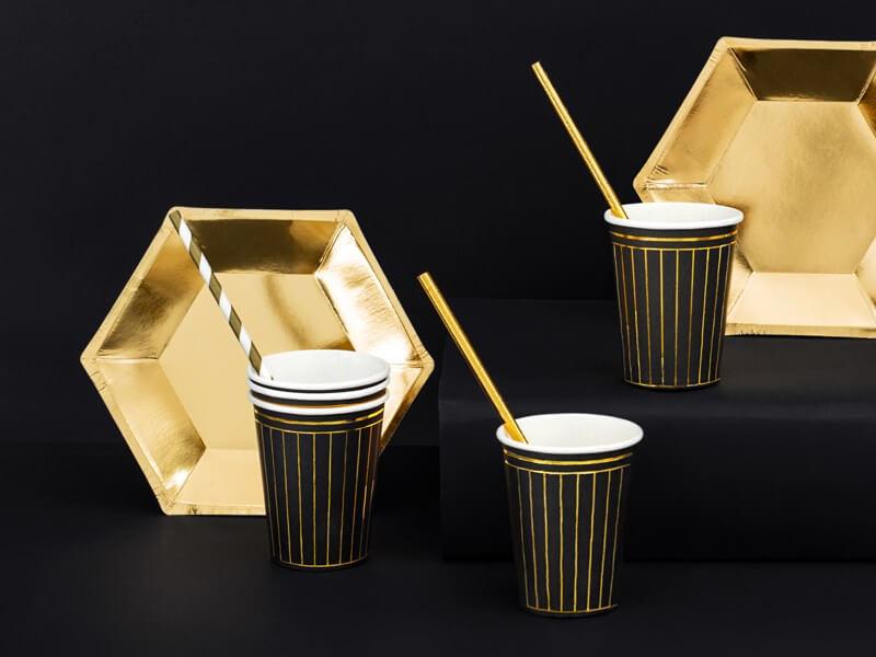 Gobelet en papier noir motif bandes dorées (Lot de 6)