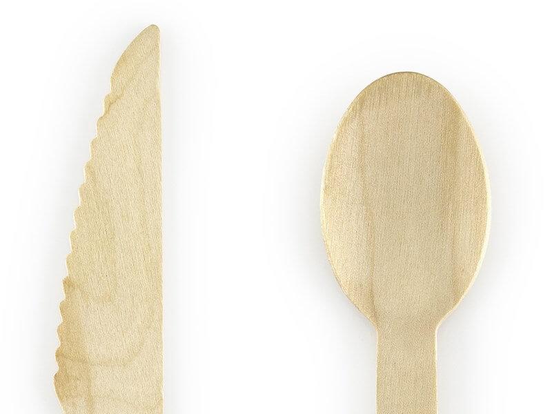 Set de couvert en bois imprimé moutarde (18pcs)
