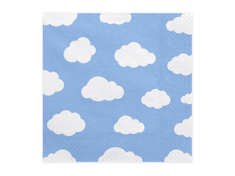 Serviette en papier bleu clair motif nuage (Lot de 20)