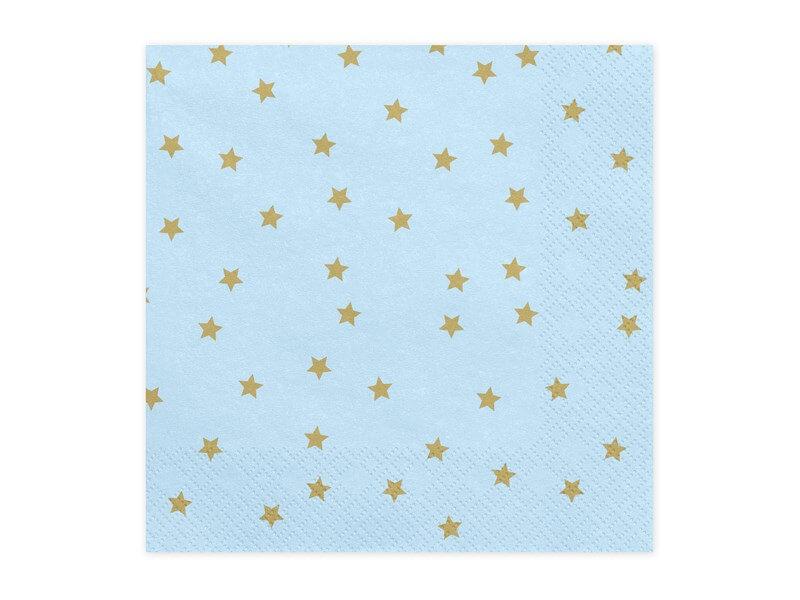 Serviette en papier bleu motif étoile or (Lot de 20)