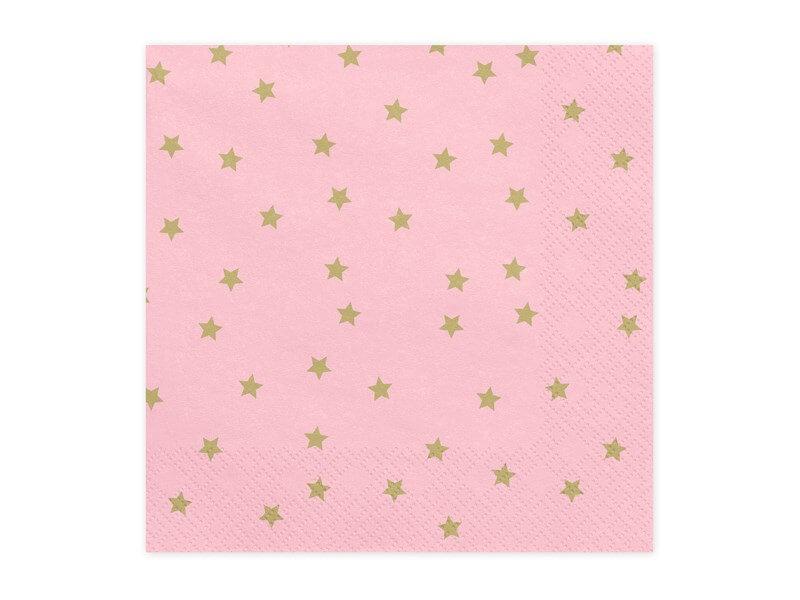 Serviette en papier rose motif étoile or (Lot de 20)