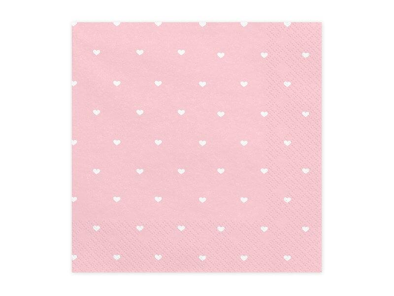 Serviette en papier rose clair motif coeur blanc (Lot de 20)