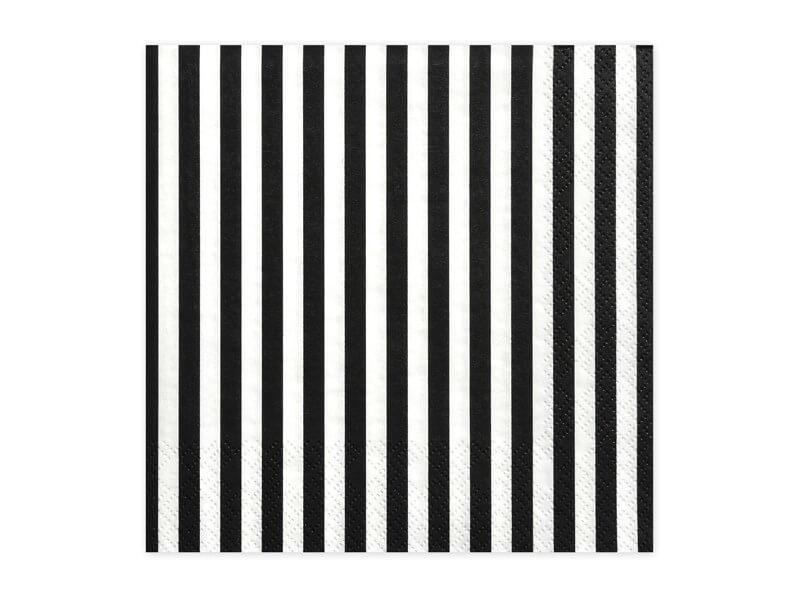 Serviette en papier rayée noire et blanche (Lot de 20)