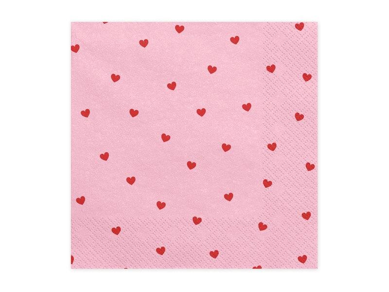 Serviette en papier rose motif coeur rouge (Lot de 20)