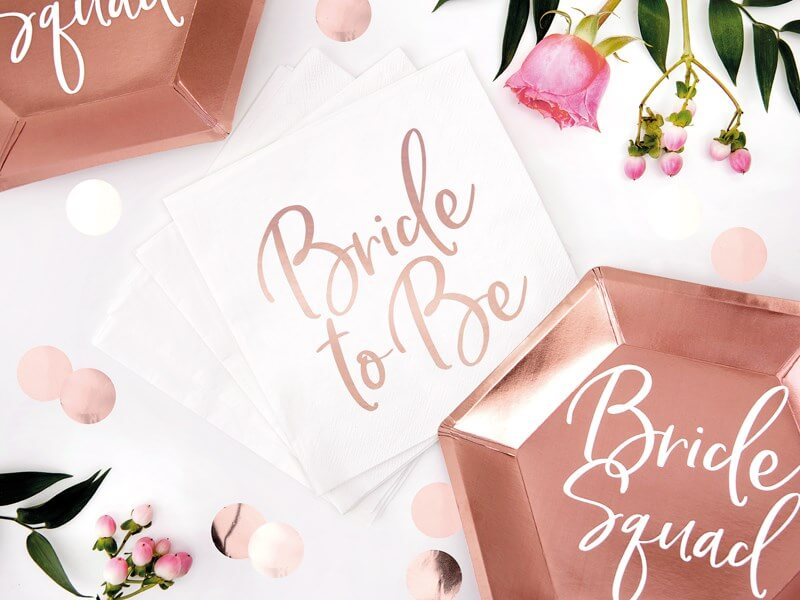 Serviette en papier blanche Bride to Be (Lot de 20)