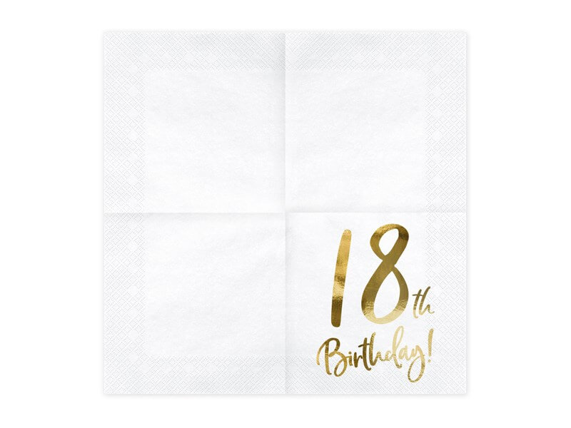 Serviette en papier 18th Birthday (Lot de 20)