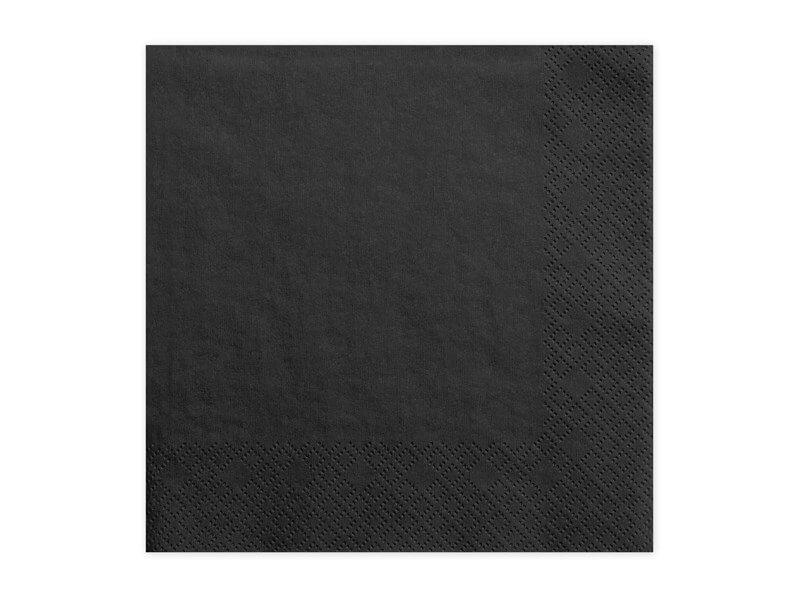 Serviette en papier noire (Lot de 20)