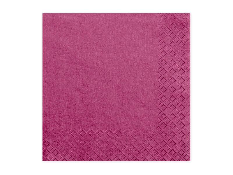 Serviette en papier rose foncé (Lot de 20)