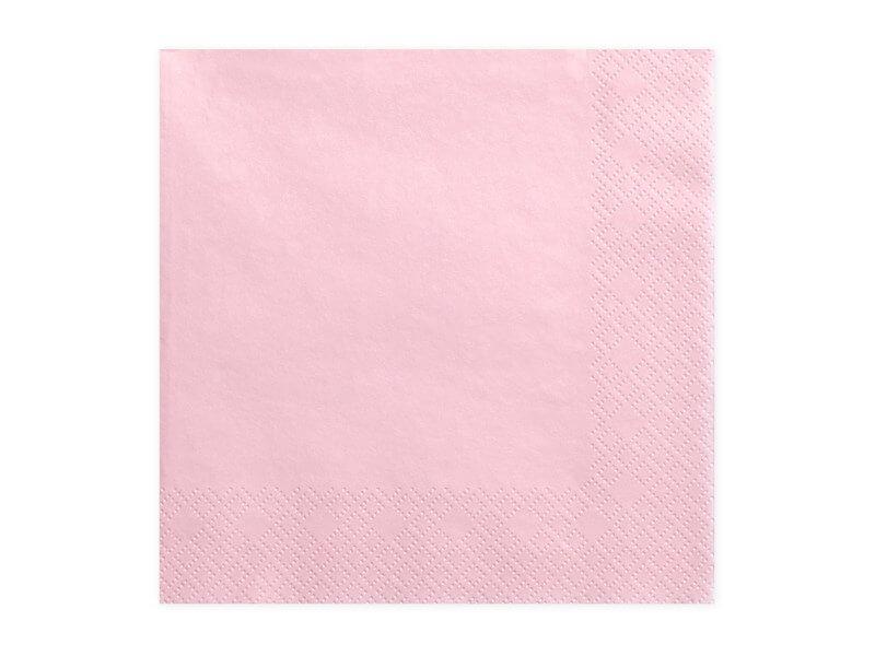 Serviette en papier rose clair (Lot de 20)