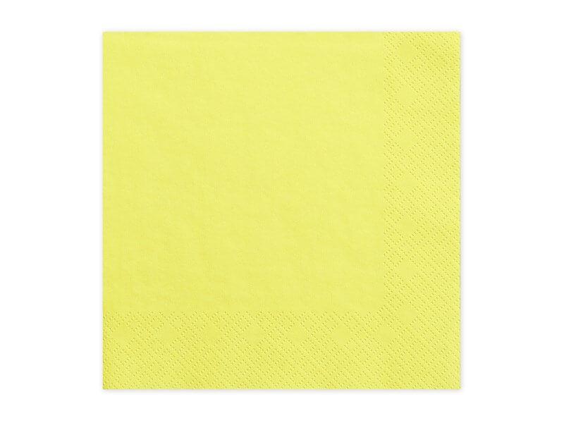 Serviette en papier jaune (Lot de 20)