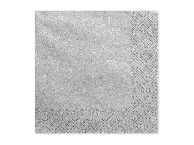 Serviette en papier Argent/Silver (Lot de 20)