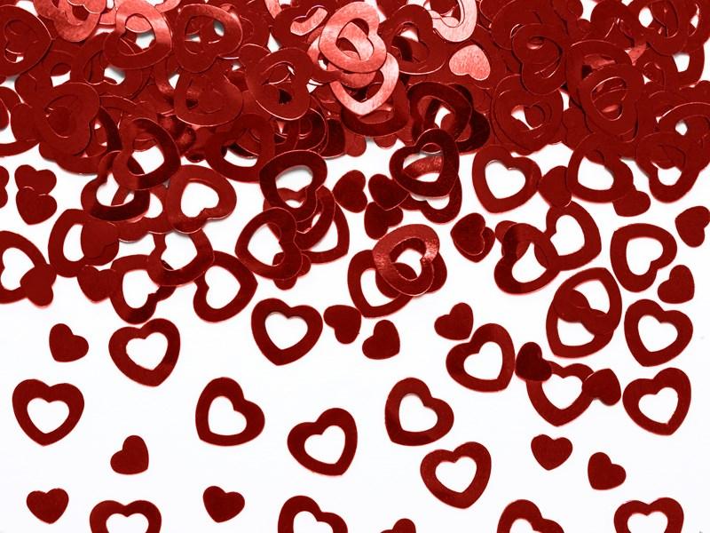 Confettis coeur rouge métallique (15gr)