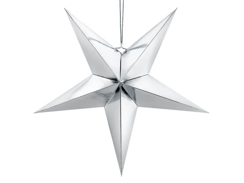 Étoile en papier argent 70cm