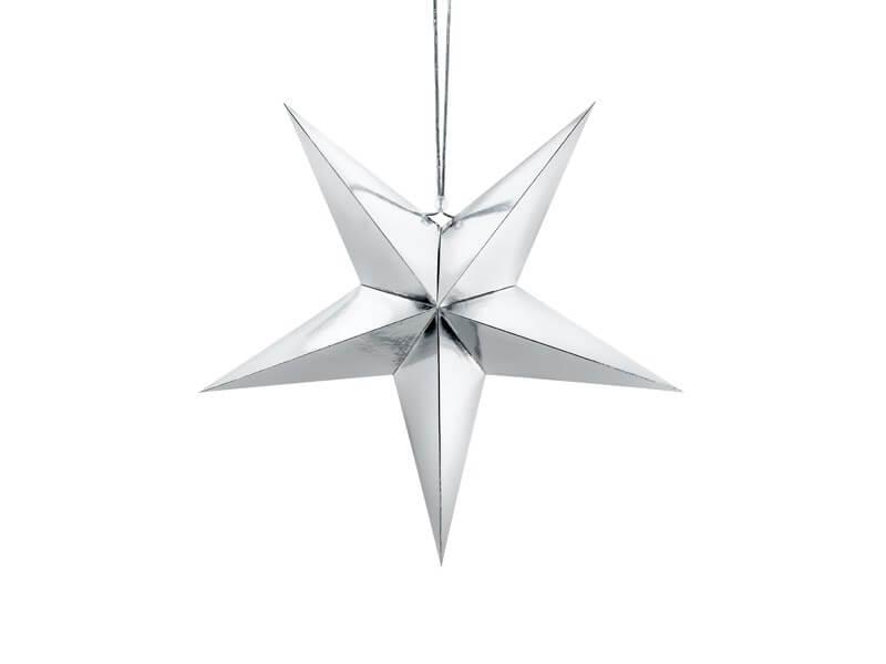 Étoile en papier argent 45cm