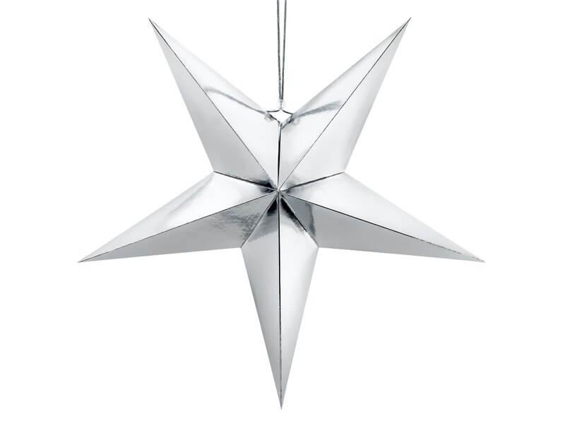 Étoile en papier argent 30cm