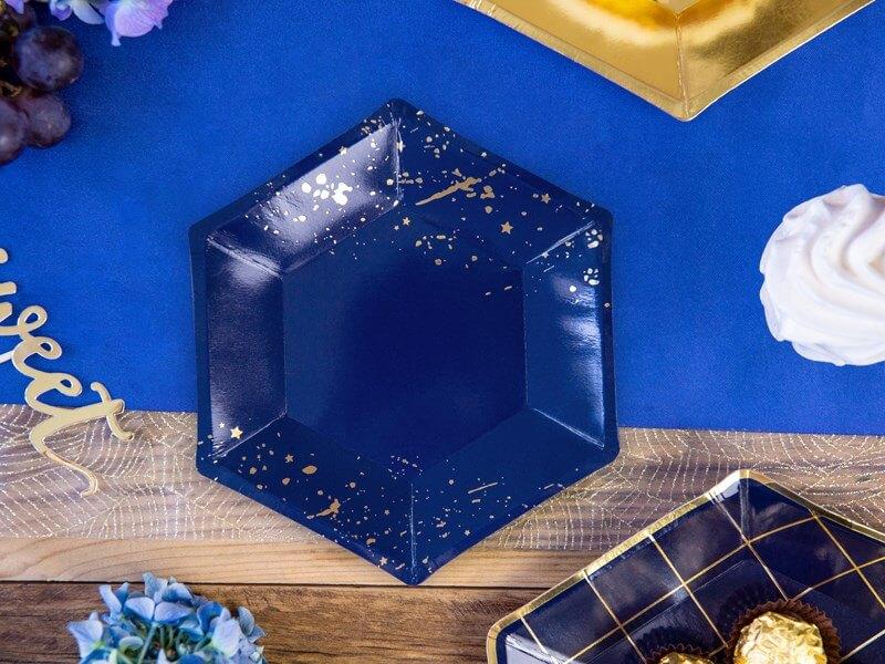 Assiette en papier bleu avec motif or (Lot de 6)