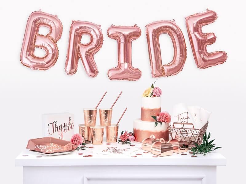 Assiette en papier BRIDE SQUAD Or Rose  (Lot de 6)