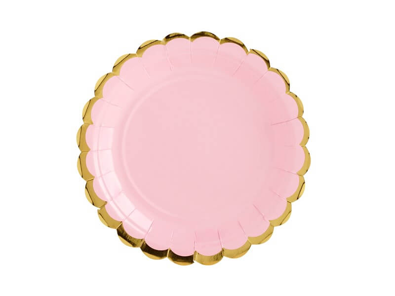 Assiette en papier rose avec bordures or (Lot de 6)