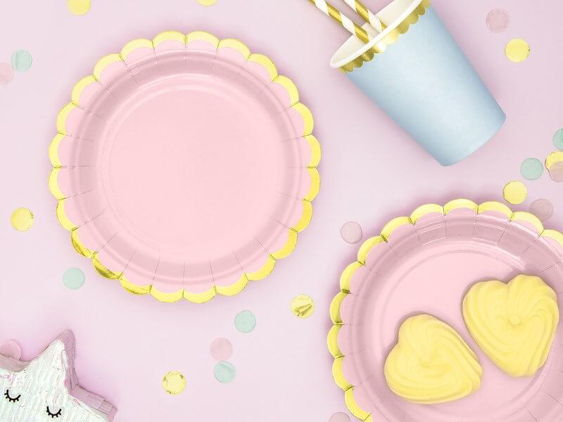 Assiette en papier rose avec bordures or (Lot de 6)