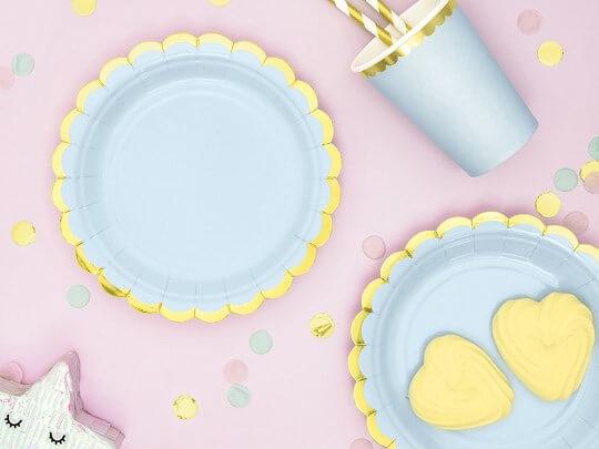 Assiette en papier bleu clair avec bordures or (Lot de 6)